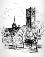 "Robert Carson drawing of the University of Florida""s Century Tower and University Auditorium."