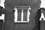 Gothic arched window in Library East on the University of Florida campus.