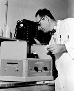 Aaron Anton with spectrophotofluorometer.