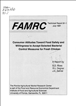 Consumer attitudes toward food safety and willingness to accept selected bacterial control measures for fresh chicken : : a report