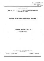 Ground water and reclamation program. Progress report