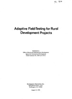 Adaptive field-testing for rural development projects