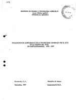 Evaluacion de aceptabilidad de la tecnologia generada por el ICTA en el cultivo del maiz en Quetzaltenango, 1978-1979