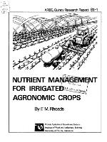 Nutrient management for irrigated agronomic crops