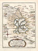 Carte du Lac de Mexico et de ses environs lors de la conqueste des Espagnols