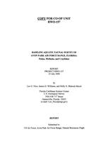 Baseline aquatic faunal survey of Avon Park Force Range, Florida: fishes, mollusks, and crayfishes