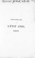 Code formulaire de l'etat civil d'Haiti