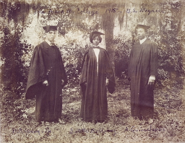 Photograph of A. Quinn Jones, Estelle Bellamy, B. Young Jr. graduating with B.S. Degrees from Florida A and M College 1915.