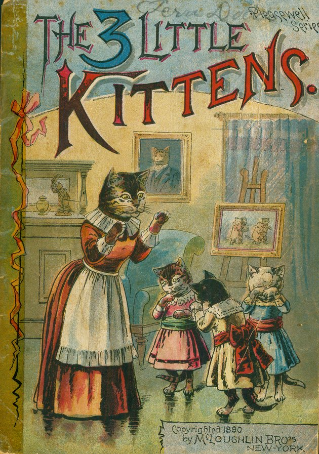Illustration of cat with three kittens in dresses