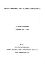Gender analysis and training techniques : training modules