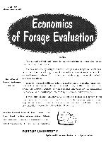 Economics of forage evaluation