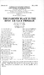 The parents' place in the boys' 4-H club program