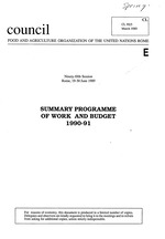 Summary programme of work and budget