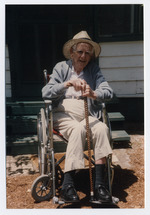 Norton Baskin at age 92 leaving from his visit to the Rawlings house in Cross Creek in 1994