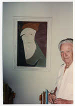 Norton Baskin at age 86 posing with Albert Stadler portrait of Marjorie Kinnan Rawlings