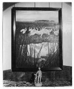 """Photograph of """"Dance of the Whooping Cranes"""" painting and """"Jody and Yearling Deer"""" statue"""