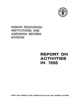 Report on activities in 1988, Food and Agriculture Organization of the United Nations