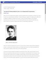 """""""Le journal intime de Marie Curie: à la recherche de l'autonomie"""""""
