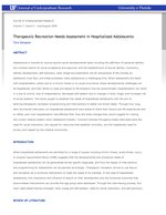Therapeutic Recreation Needs Assessment in Hospitalized Adolescents