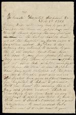Bellamy, Calvin to his Wife Clarisa-  December 9, 1862- Florida Hospital, Richmond, Va., (1 sheet, 2 leaves)
