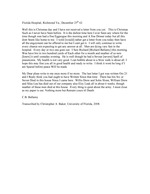 Bellamy, Calvin to his Wife Clarisa - Florida Hospital, Richmond, Va. - Transcript