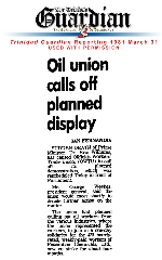Oil union calls off planned display