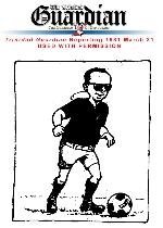 Prime Minister, Dr. Eric Williams kicking a football (cartoon)