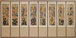 Eight-Panel Munjado-Chaekkeori Screen with Eight Cardinal Principles of Confucian Morality