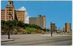 Havana - Hotel Nacional and Focsa Building from Malecon Avenue = Hotel Nacional y Edifico Focsa visto desde el Malecon