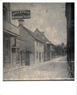 [Historic image of Oliveros House and Benet House from St. George Street, looking Southeast] ]