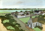 [Artist's rendering focusing on Block 28, showing the Wakeman House, Watson House, and Spanish Military Hospital]