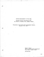 Water Managment In The 1980's: Florida's Internal and External Role