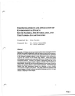 The Development and Application of Environmental Policy: South Florida, The Everglades, and The Florida Sugar Industry