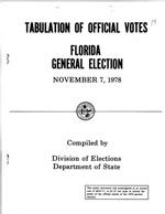 Tabulation of Official Votes Florida General Election November 7, 1978