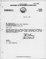 Letter of Updated Version of DER Statutory Authority - dated July 21, 1987
