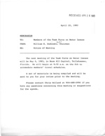 Memo Of Notice of Meeting of the Task Force on Water Issues and Handwritten Notes