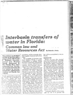 Interbasin Transfers of Water in Florida:  Common Law and Water Resources Act by Deborah J. Kemp