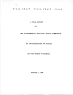 Final Draft Report By The Environmental Efficiency Study Commission to the Legislature of Florida And The People of Florida:  Summary of Recommendations by the EESC