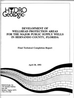 Development of Wellhead Protection Areas for the Major Public Supply Wells in Hernando County, Florida
