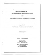 Executive Summary of The Florida Water Resources Act of 1972 and Comprehensive Planning in the State of Florida