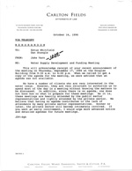 Water Supply Development and Funding Meeting, Memo of October 14, 1996