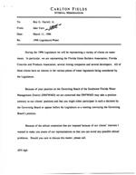 Letter From Jake Varn to Roy Harrrell, Jr. Re:  1996 Legislature/Water