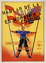 Hablar de la Falange es nombrar a España. Unidad Unidad Unidad [To speak of the Falange is to speak of Spain. Unity, Unity, Unity]