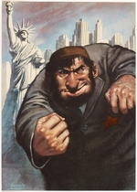 [Menacing Jewish figure with skyline of New York in background with Statue of Liberty]