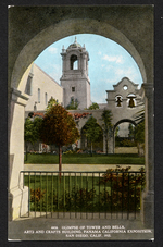 Glimpse of tower and bells, Arts and Crafts Building, Panama California Exposition