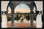 "Approach to a formal garden and the citrus orchard, the ""Isthmus"" amusements in the distance, San Diego Panama-California Exposition"