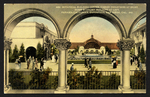 Botanical Building Center, Varied Industries at right, Home Economy Building at left, Panama-California Exposition, San Diego, Cal., 1915