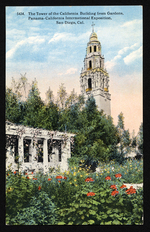 The tower of the California Building from gardens, Panama-California International Exposition, San Diego, Cal