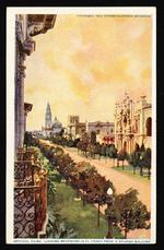 Looking westward in El Prado from a Spanish balcony
