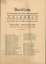 """Bord-Liste der Passagiere des Lloyd-Schnelldampfers """"Columbus"""" aus Anlass des 6. Fussball-Länderkampfes"""